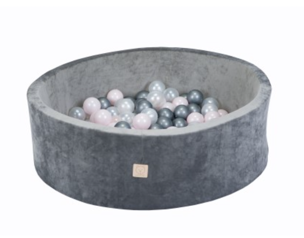 MiSiOO Ball pool Velvet set with 150 balls - Grey, Girlish Pattern (90x30) Available now