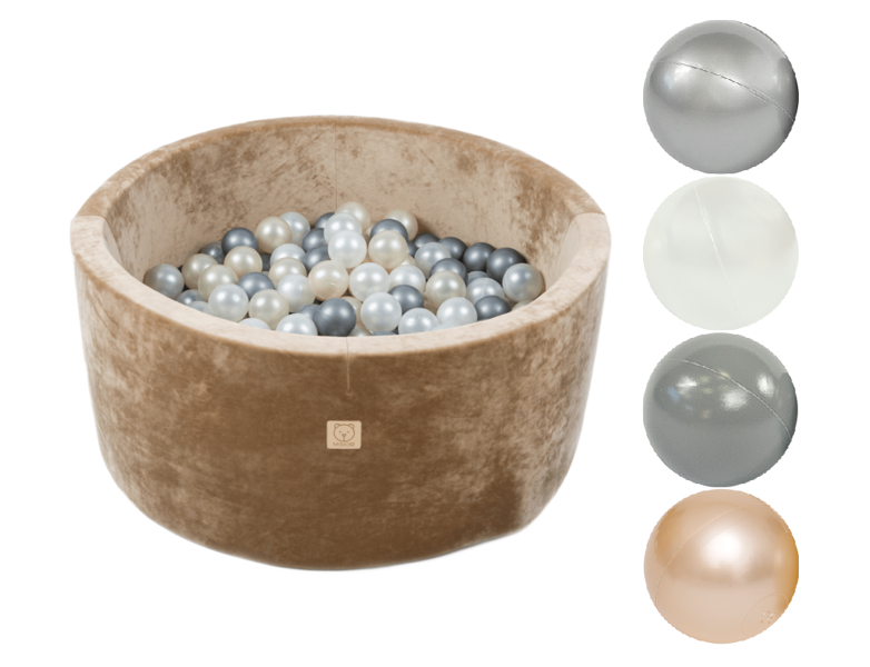 MiSiOO Ball pool Velvet Soft set with 200 balls - Gold, Round (90x40) Delivery 2-5 working days