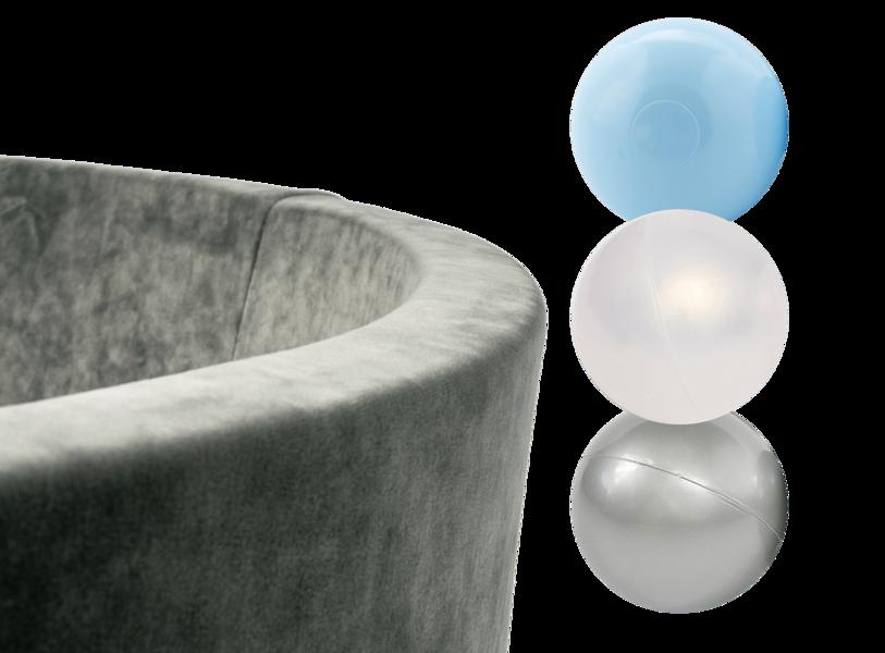 MiSiOO Ball pool Velvet set with 150 balls - Grey, Boyish Pattern (90x30) 2-5 working days