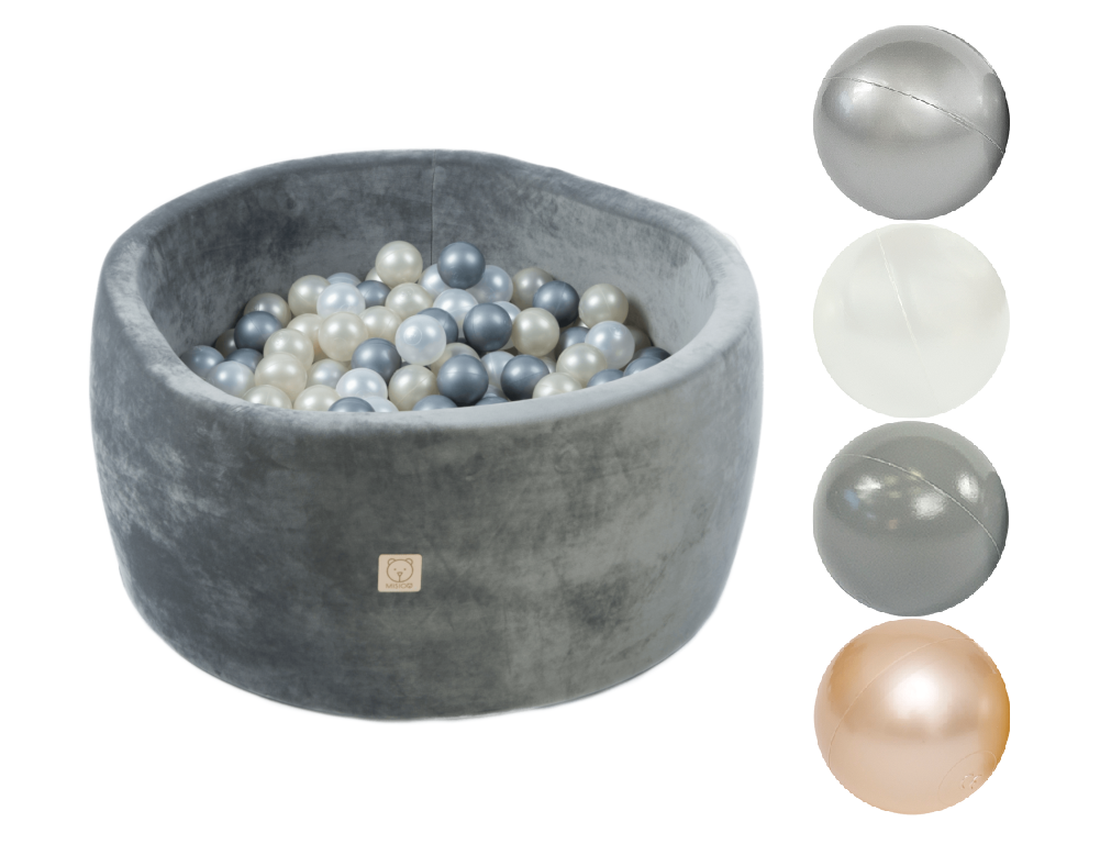 MiSiOO Ball pool Velvet Soft set with 200 balls - Grey, Round (90x40) Delivery 2-5 working days